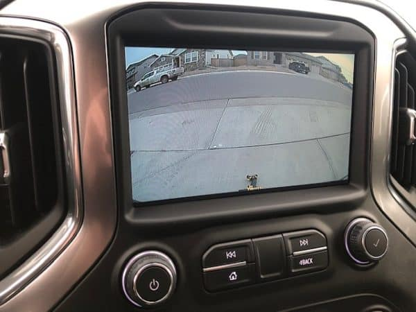 2020 Chevy Silverado showing 1 foot distance point displayed on screen with drill